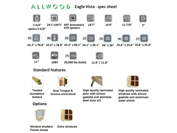 Allwood  Eagle Vista | 1376 Sqf cabin kit - FREE SHIPPING - Financing Available
